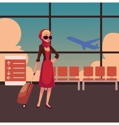 Pretty woman in red dress with suitcase vector