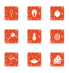 Qualify food icons set grunge style vector