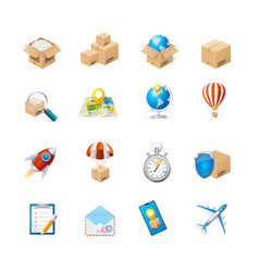 realistic detailed 3d delivery icon set vector image