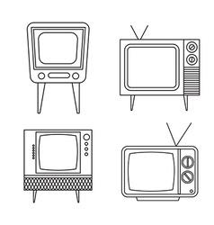 retro tv items set on white background vector image