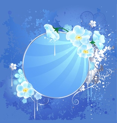 Round banner with white flowers vector