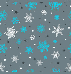 seamless pattern of snowflakes white and blue on vector image