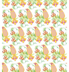 seamless pattern ornament summer bird with vector image