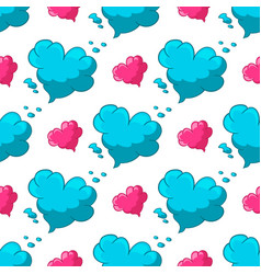 seamless pattern with cloud with heart shape vector image