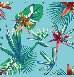 seamless tropical leaves and flowers blue vector image