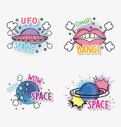 Set fashion ufo with planet and mouth patch vector