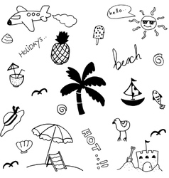 Set holiday in beach doodle vector
