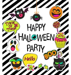 Set of stylish halloween card vector image