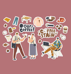 set stickers coffee stains clumsy characters vector image