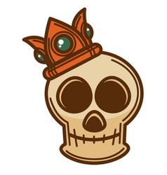 skull bone with crown decorated with gems icon vector image