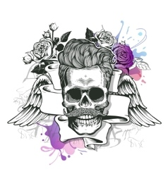 Skull Hipster silhouette with mustache and vector