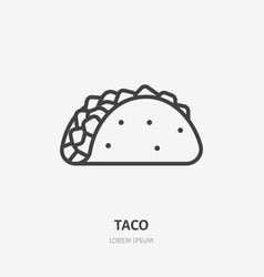 taco flat line icon thin sign of mexican vector image