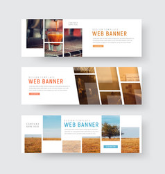 template of web banners with rectangular blocks vector image