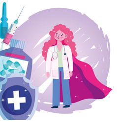 Thanks you doctors female physician with cape vector