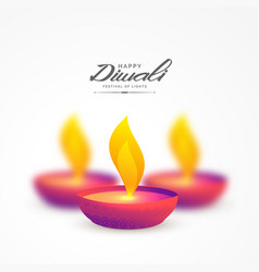 vibrant colorful diya for diwali background vector image