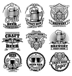 Vintage beer drink bar labels retro vector