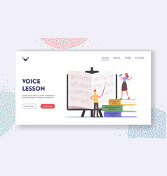 Voice lessons landing page template characters vector