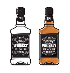 whiskey bottles two styles colored and black vector image
