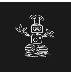 White robot cyborg icon vector