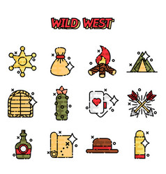 Wild west cartoon concept icons vector