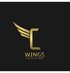 Wings C letter logo vector