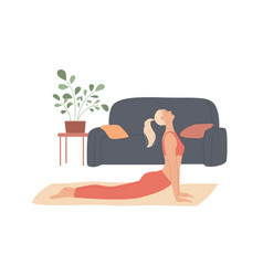 woman exercises at home stretches out curves her vector image