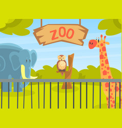Zoo park with wild animals natural african vector