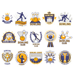 bowling logo bowler sport game with alley vector image vector image