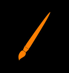brush sign orange icon on black vector image