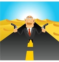 brutal gangster holding handguns vector image