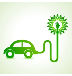 Electric car with green tree concept vector image