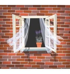 Open window with lavender vector image vector image