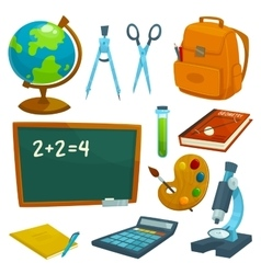 School supplies icons set Stationery elements vector image