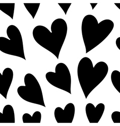 Seamless monochrome pattern with hearts vector image
