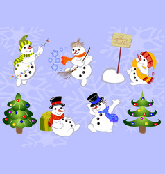 set of winter holidays snowman and christmas tree vector image