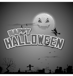 Witch flying in Happy Halloween Background vector image vector image