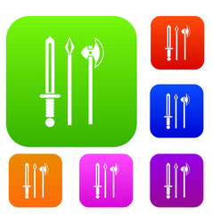 ancient weapon sword pick and axe set collection vector image vector image