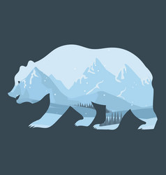 bear and nature double exposure winter landscape vector image