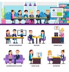 Business people meeting set vector