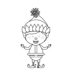 contour with christmas gnome boy vector image
