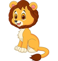 Cute baby lion walking isolated on white backgroun vector image vector image