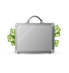 icon of metal briefcase with money isolated on vector image