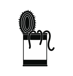 Tin of earthworms black simple icon vector image