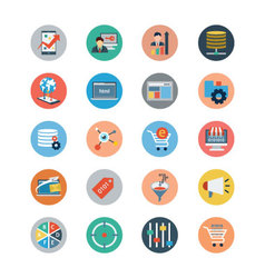 Universal Web Flat Colored Icons 4 vector image vector image