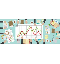 Flat View Business Meeting Table vector image vector image