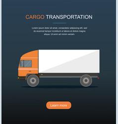 orange cargo delivery truck isolated on dark backg vector image vector image