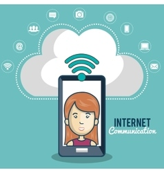 cartoon women smartphone cloud connection web vector image