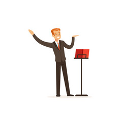 orchestra conductor directing musical performance vector image vector image