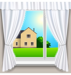 spring window house vector image vector image