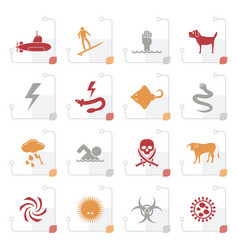 stylized warning signs for dangers in sea ocean vector image